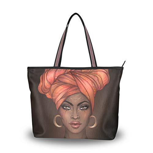 Woman Tote Bag Shoulder Handbag African American Woman for Work Travel Business Beach Shopping School