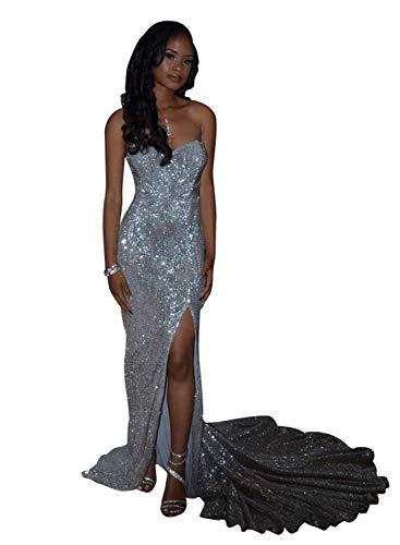 Jazylynbride Mermaid Strapless Sweetheart Long Sequin Prom Dress Side Slit Evening Gown ()