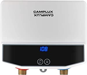 Camplux Electric Tankless Water Heater, TE04 Point-of-Use Residential Water Heater, Instant Electric Water Heater with Digital Display and Cable, 3.5kW at 120V, White