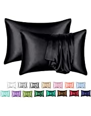 MR&HM Satin Pillowcase for Hair and Skin, Silk Satin Pillowcase 2 Pack, Queen Size Pillow Cases Set of 2, Silky Pillow Cover with Envelope Closure (20x30, Black)