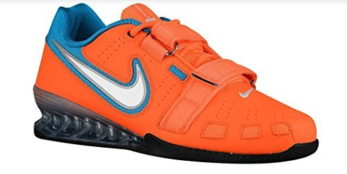 Nike Men's Romaelos II Powerlifting Shoes - Total Orange/White/Blue Lagoon (14) (Lifting Shoes Nike)
