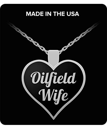 TAHLIA Oilfield Wife Necklace, Necklace for Oilfield Wife, Oil Rig Charm, Oil Derrick Charm, Custom Gifts, Proud Wife, Silver Plated Pendant