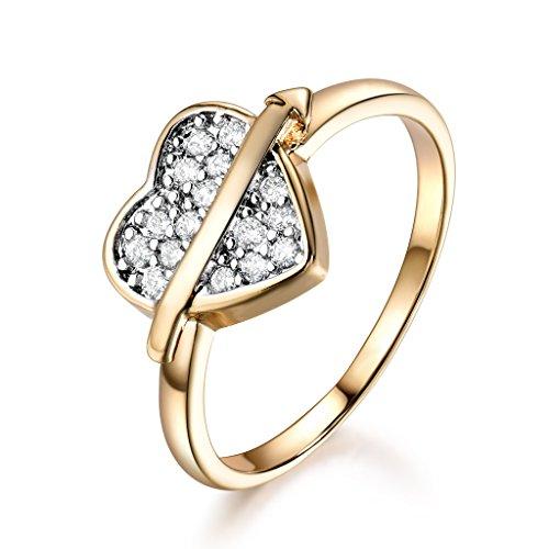 GULICX Eternity Love Girls Heart Shape Band Yellow Gold Tone White Cubic Zirconia Promise Ring Sizes 6-9
