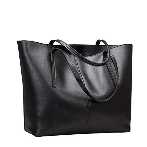 Womens Pu Leather Tote Bags Handbag Soft Top Handle Shoulder Bag Large Bag,Black-OneSize