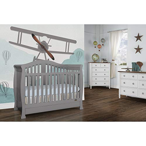 Dream on Me Addison 5-in-1 Convertible Crib, Storm Grey