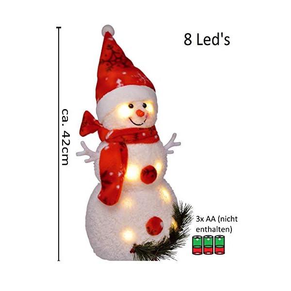 Bambelaa! Pupazzo di neve con luce LED, rosso, decorazione natalizia illuminato, 42 cm, funzionamento a batteria 2 spesavip