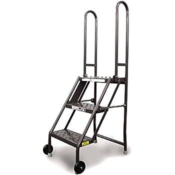 Vestil Flad 3 Folding 3 Steps Ladder With Wheels Carbon