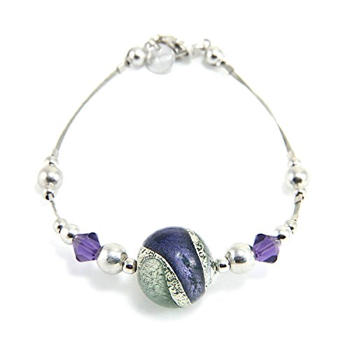 Woman's bracelet in 925 silver rhodium plated, Murano glass enhanced by a white gold leaf (made in Florence) and Swarovski crystals. BFR046/W03