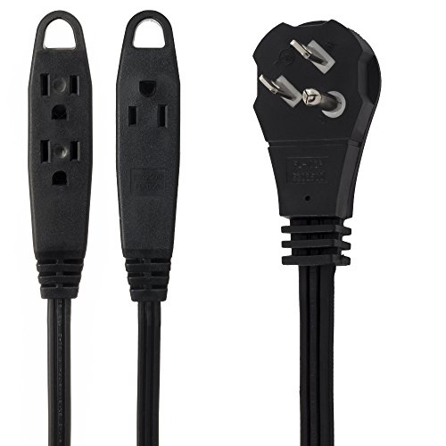 MAXIMM 2 Feet Flat Plug Extension Cord/Wire, 3 Outlet Electrical Cord - 3 Prong Grounded Angled Flat Plug Extension Cord - 16 AWG - Black UL Listed