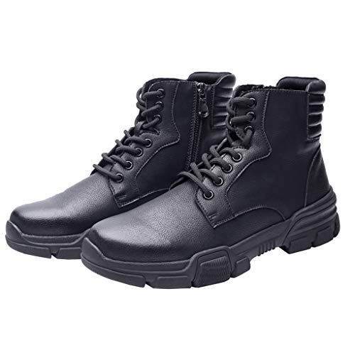Heritage Boots Mens Roper (Giles Jones Men's Motorcycle Boots Autumn Winter Lace-up Seven-Eye Antislip Combat Boots)