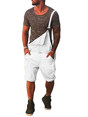Taoliyuan Mens Duck Bib Short Overalls Slim Fit Romper Casual Summer Button Dungaree Jumpsuit (Large, B-White)