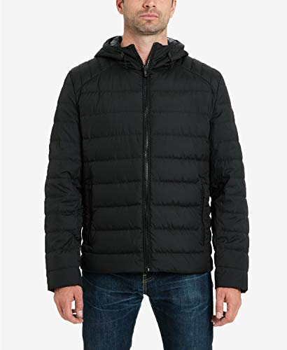 Michael Kors Men's Puffer Down Hooded Jacket (Medium, Black) (Michael Michael Kors Mens Hooded Bib Snorkel Coat)