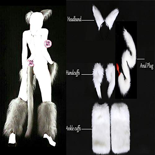 Cat Tail Butt Toy Plug Sex White Sexy Faux Fox Tail Hand Cuffs Ankle Cuffs Headband Cosplay Set Anal Plug Silicone Butt Plug Sex Toys Adult Games Tshirt,Glass Butt Sex Plug -