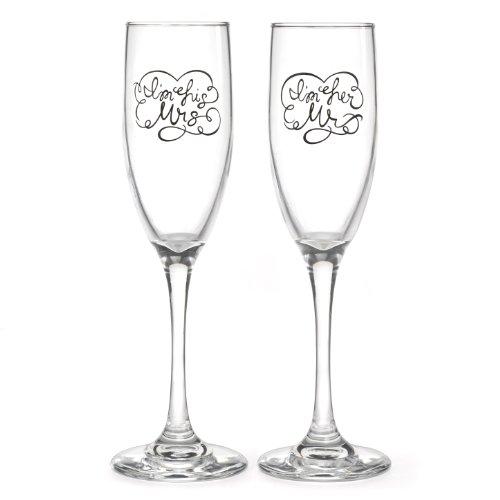 Hortense B. Hewitt Wedding Champagne Toasting Flutes, I'm His Mrs. and I'm Her Mr., Set of 2 by Hortense B. Hewitt