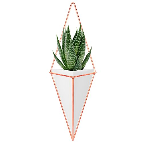 Nellam Ceramic Planter - Modern Geometric Hanging Wall Pot with Copper Frame – Large Mounted Decorative Vase & Container for Indoor Plants & Succulents - Potter for Flower, Herbs, Vegetable Planting