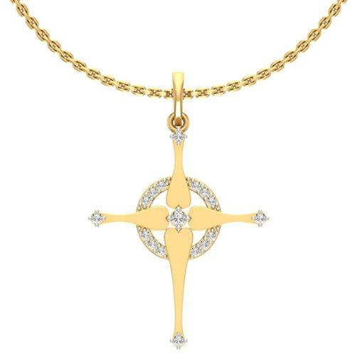 14K Or jaune 0,14CT TW Round-cut-diamond (IJ | SI) diamant Pendentif