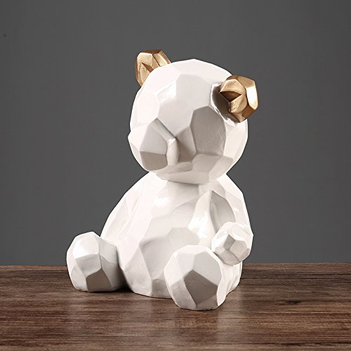 Willower Bear Ornament, Scandinavian style geometric bear, home decoration, animal ornaments, living room, bedroom, shop, table top furnishings,Classic white geometric bear