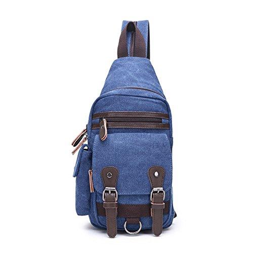 Paseo dark del Lienzo Hombros capacidad Gran Hombro de Viajar cofre Paquete cofre blue de Paquete Usable mensajero Transformable ZXJ Hombres Bolso FqwfHXxt