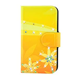 Generic Rhinestone Yellow Leaves Flower Design Card Slot Magnetic PU Leather Flip Case Cover Compatible For Huawei Honor 7