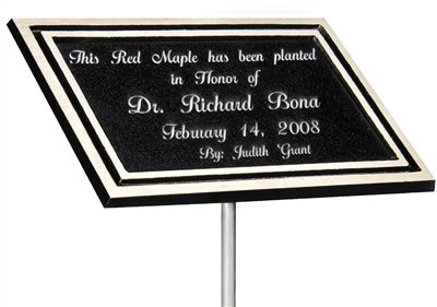 Order Fast Awards Outdoor Casting Aluminum Plaque Black/Silver with Stake