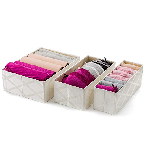 Foldable Closet Drawer Organizer, Set of 3 Storage Containers, Moisture, and Dust-Proof Storage...
