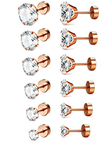 - LOLIAS 6-12 Pairs 18G Stainless Steel Flat Back CZ Tragus Stud Earrings for Women Girls Screw Back Cubic Zirconia Stud Earrings Set
