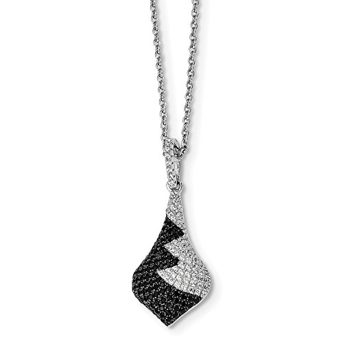 925 Sterling Silver Black White Cubic Zirconia Cz Chain Necklace Pendant Charm Fine Jewelry Gifts For Women For Her ()