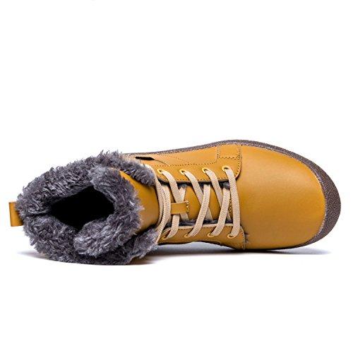 Cienti Stivali Da Neve Da Uomo Stringate Alla Caviglia Sneakers Alte Scarpe Invernali Con Fodera In Pelliccia Color Kaki