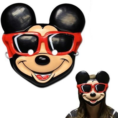 Disney Mickey Mouse Birthday Party Vac Form Mask Accessory, Black/White , 6 1/4