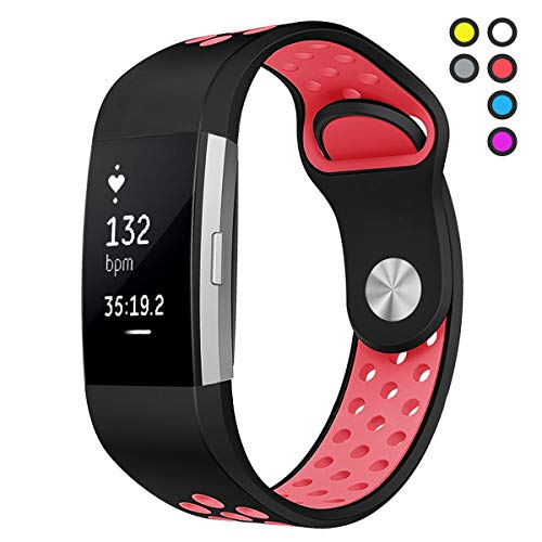 Hanlesi for Fitbit Charge 2 HR Bands Replacement Sport Band for Fitbit Charge2 Pink Large