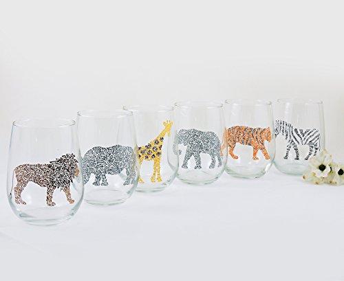 - Hand painted Safari wine glasses: rhino giraffe zebra lion elephant tiger - Africa, Wildlife, Zoo, Jungle