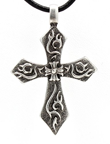 Pewter Flaming Cross with Iron Cross Pendant on Leather Necklace