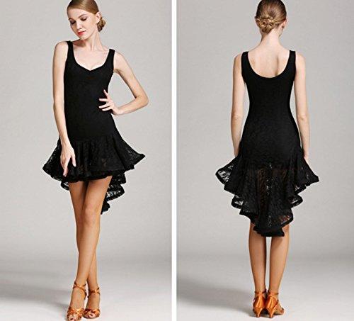xxl Solid Color Vestiti Donna M Danza Prestazione Breve Fronte Black Latina Da Retro Lungo Wqwlf Swing Pizzo Di qEAwTqgt