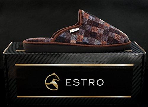 ESTRO MAGIC comodo pantofole uomo (42, Marrone)
