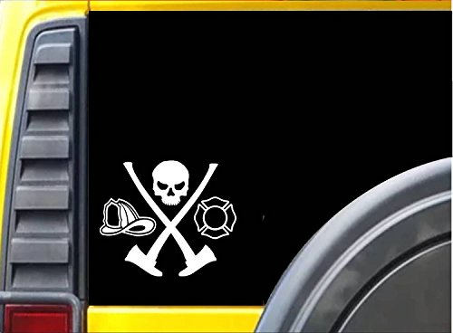 Fireman Skull Ax Hydrant K323 6 inch decal Maltese cross sticker