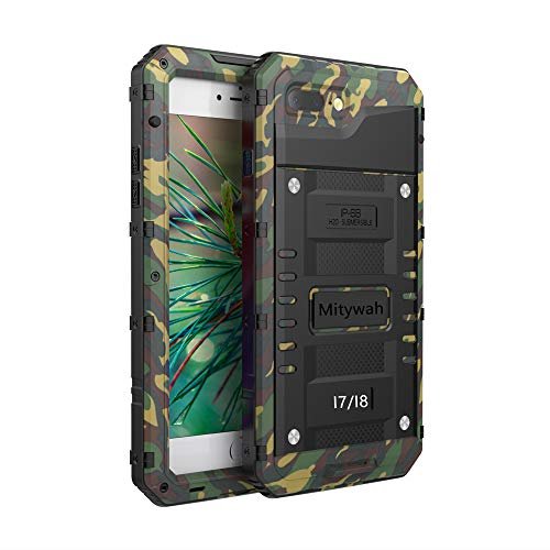 iPhone 7 / iPhone 8 Case Mitywah Heavy Duty Durable Metal Full Body Protective Case Built-in Screen Protection Waterproof Shockproof Dustproof Rugged Military Grade Defender, - Metal Protective Case