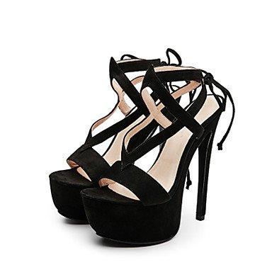 LvYuan Mujer Sandalias Zapatos del club Tejido Verano Vestido Fiesta y Noche Zapatos del club Con Cordón Tacón Stiletto Negro Almendra12 cms y almond