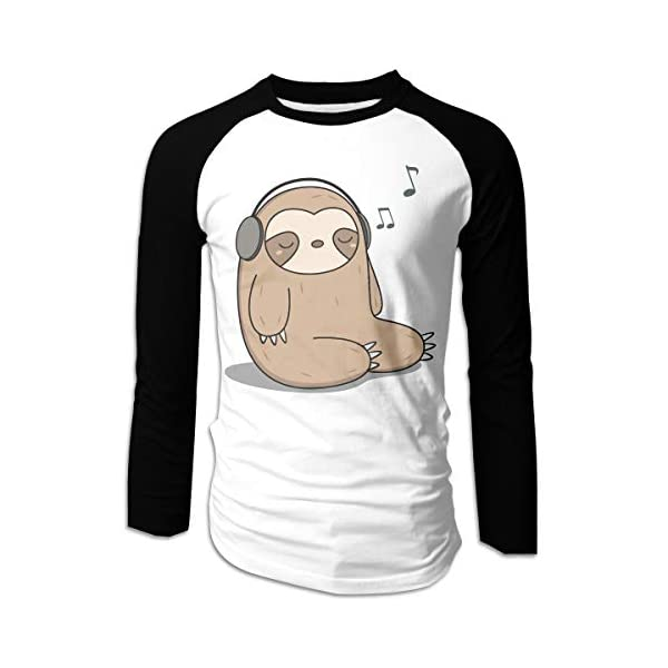 Kawaii Cute Sloth Listening To Music Classic Mens Long Sleeve Raglan T-Shirts Round-Neck Tee For Men -
