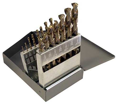 Cle-Line C21112 135 Degree Heavy-Duty Cobalt Jobber Length Drill Set in Metal Case, 15 Pieces ()