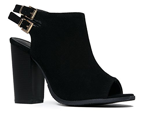 MarBel Peep Toe Bootie ? Stacked High Heel - Open Toe Ankle Boot Cutout Ankle Strap