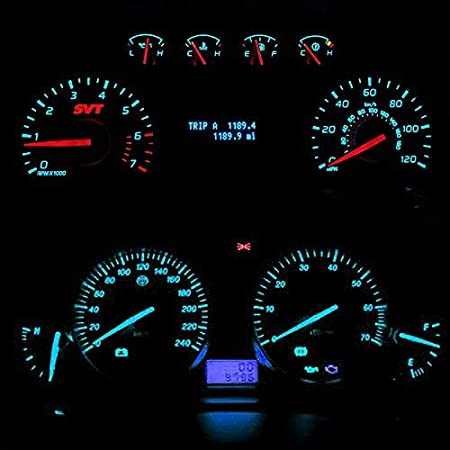 AoJuy 10 St/ück T5 17 37 73 74 SMD 5050 Keilabsatz Instrument Armaturenbrett Auto LED Gl/ühbirne f/ür Ford Gelb
