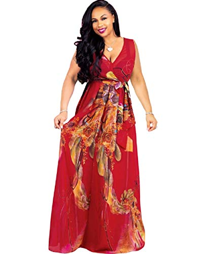 Dora's Womens Chiffon Deep V Neck Printed Stylish Maxi Dress Dresses High Slim Waisted Belt, B-sleeveless-redfloral, Medium
