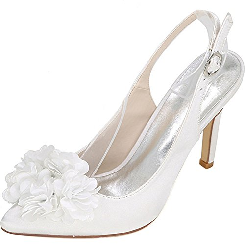 Slingback Sposa Bianco Vestito Aguzza Yaoyue Da Flowers Punta Pompa Decolleté Delle Donne 3d Sandali w4xqRafU