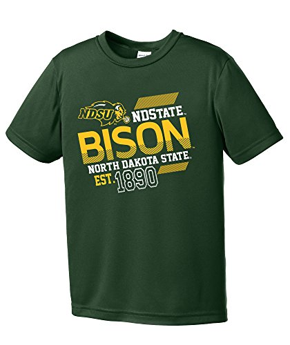 North Dakota Colleges - NCAA North Dakota State Youth Boys Offsides Short sleeve Polyester Competitor T-Shirt, Youth Small,ForestGreen