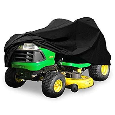"""Heavy Duty 420 Denier Riding Lawn Mower Cover By Premium Products - Fits Decks up to 54"""" - Water, Mildew & UV Protection - Black"""