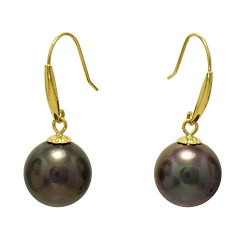 11mm Natural Cultured Tahitian Pearl (8-9MM Cultured Tahitian Black Pearl Earrings 18K Yellow Gold Fishhook)
