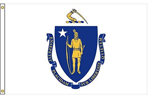 - Massachusetts 5ftx8ft Nylon State Flag 5x8 Made In USA 5'x8'