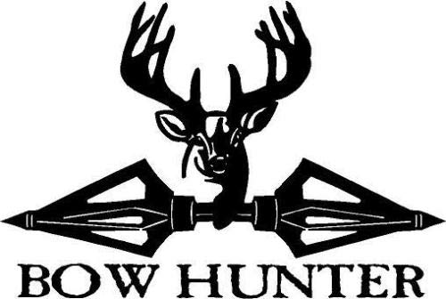 - Black Vinyl Decal - Deer broadheads Antler Bow Hunter Hunting Horns Buck, Die Cut Decal Bumper Sticker for Windows, Cars, Trucks, Laptops, Etc.