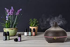 Aromatherapy Essential Oil Diffuser,Ultrasonic Aroma Humidifier 300ml (Up to 8H Use, Mist Control, Waterless Auto Shut-Off, 4 Timer Settings, 7 Color LED Lights) by Wasserstein (Dark Wood Grain)