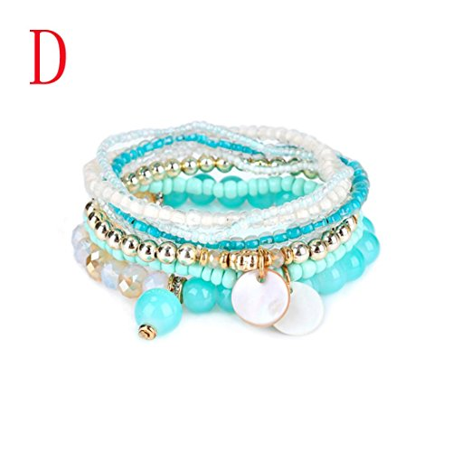 Botrong Fashion Stretch Acrylic Beaded Bohemian Lady Bracelet Bangle (Halloween Row 14 2017)